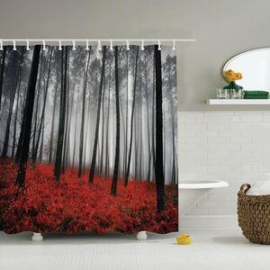 Shower Curtain Mystical Foggy Woodland Print